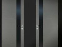 Szare drzwi z szybą